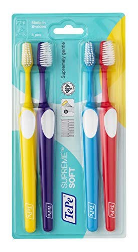 TEPE Supreme Soft Toothbrushes - Soft Bristle Disposable Toothbrush, 4 Pack