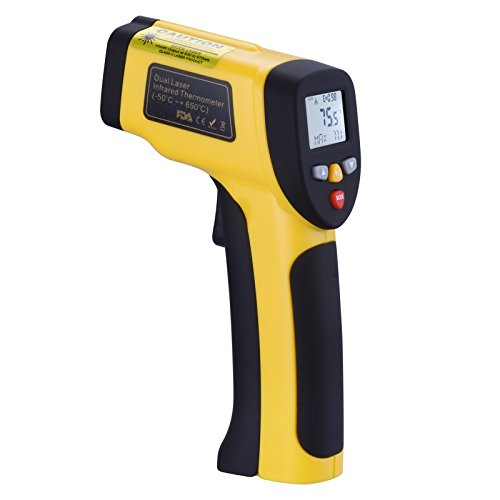 Industrial Adjustable Thermometer (Infrared Thermometer, Tensun Dual Laser Thermometer Temperature Gun Non-contact Surface Digital IR Thermometer -58℉~1202℉ (-50℃ to 650℃) Instant Read Handheld with Adjustable Emissivity)