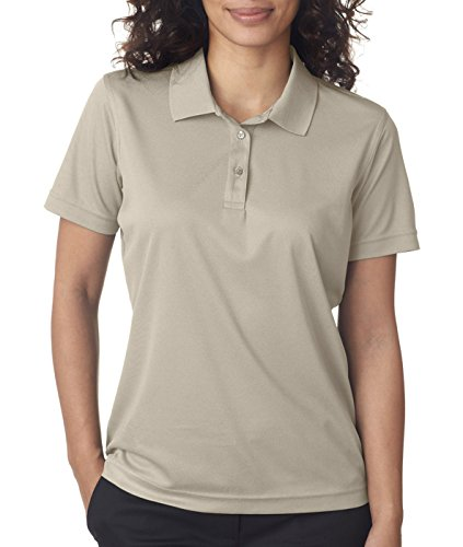 Ultraclub 8210L Ladies Cool & Dry Mesh Pique Polo - Stone - 2XL - Sleeve Youth Pique Polo