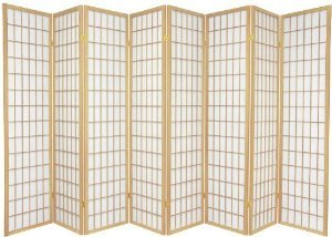 Japanese Oriental Style Room Screen Divider (Natural 8 Panel) by SQUARE FURNITURE