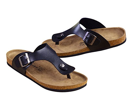 YipGrace Adultos Unisex Footbed De Corcho Chanclas Sandalias De Playa Parejas Sandalias Negro