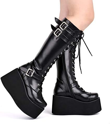 LANKOULI Lolita Shoes 10Cm Autumn And Winter Gothic Boots Punk Large Thick Sole Sponge High Boots Cosplay Lolita 44