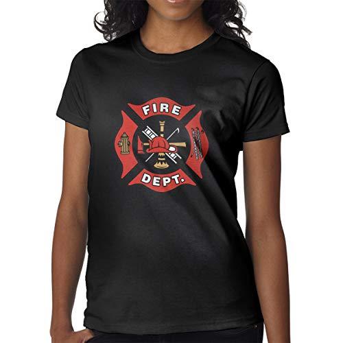 EMT Firefighter Maltese Cross Girl's Beautiful Short-Sleeved T-Shirt Fashion T-Shirt Clothes Black