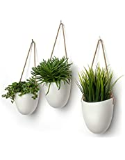 Kazai.®   Keramische plantenbak hangvaas   Set van 3   Mat wit