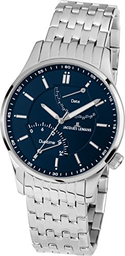Jacques Lemans Men's Classic London 42mm Steel Bracelet & Case Quartz Blue Dial Analog Watch 1-1902E