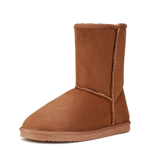 FUNKYMONKEY Women's Winter Classic Suede Imitation Wool Lined Snow Boot (11 B(M) US, Brown) (Uggs Snow Like Boots)