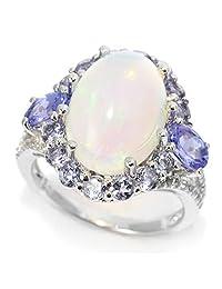 Pinctore Sterling Silver 14 x 10mm Ethiopian Opal & Multi Gemstone Halo Ring