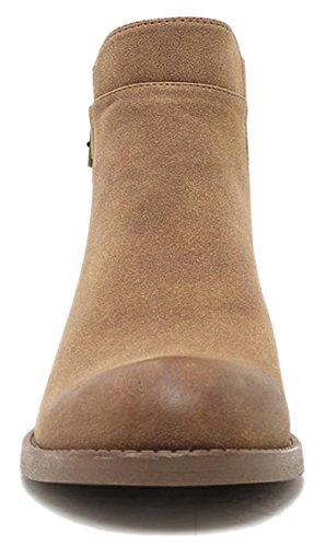 Vrouwen Uitgesneden Bootie Lace-up Slip Op Hoge Hak Platform Sleehak Bootie Camel-gesp