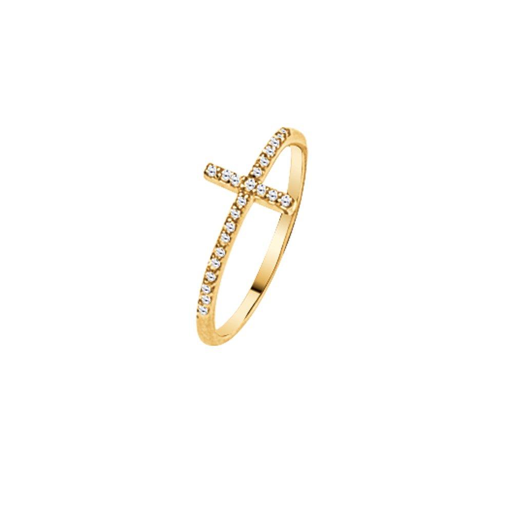 Cross Ring, 1/6 Carat E2W Diamond Sideways Cross Ring