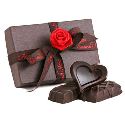 [Amore di Mona Luxury 3 Piece Chocolate Party Favor Gift Box - Caramela, Dark Chocolate Heart, Caramela with Cranberry. Vegan, Organic, GMO-free, Gluten-free, Free of Peanuts, Tree Nuts, Milk, and Soy] (Belgium Chocolate Favors)