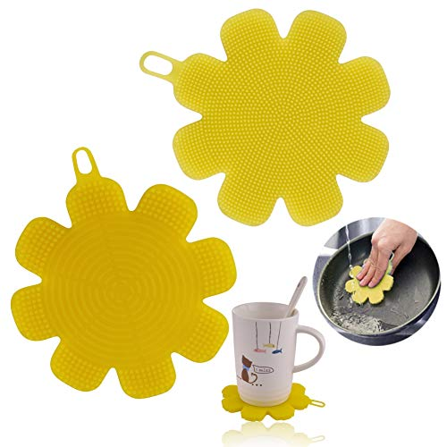 M MOACC Christmas Gift Silicone Sponge Brush Scrubber Dishwashing Pot Washing Fruit Vegetable Cleaner BPA-Free Pack 2 Yellow