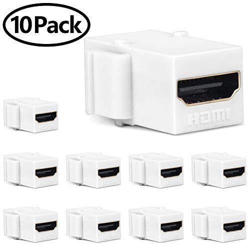MOERISICAL HDMI Keystone Jack, 10 Pack HDMI Keystone Insert Female to Female Coupler Adapter (10 Pack, White) ()