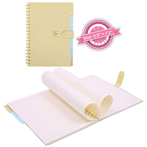 Spiral Notebook B5, 5 Subject Notebooks, Cute Diary, Wide Ruled Large Writing Paper, Colored Hardcover Divider, 100 Sheets Wire Bound Notepad, 9.8×7.2 Smile Journal Memo Planner for Kids Girls Wome