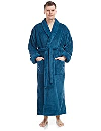 0271c74003 Men s Shawl Collar Full Length Tall Long Fleece Robe