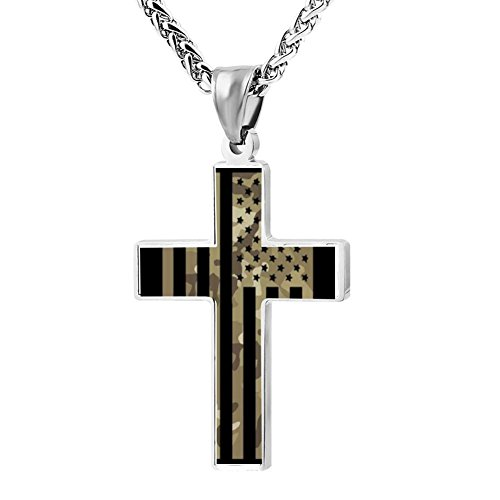 BlingDi Cool Design Sweet Camo American Flag Zinc alloy Religious Cross Pendant Necklace -