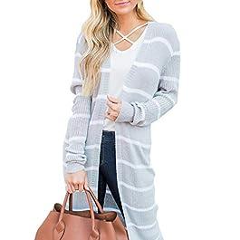 Lovaru Womens Long Cardigans Striped Fall Oversized Lightweight Open Front Sweater Tops