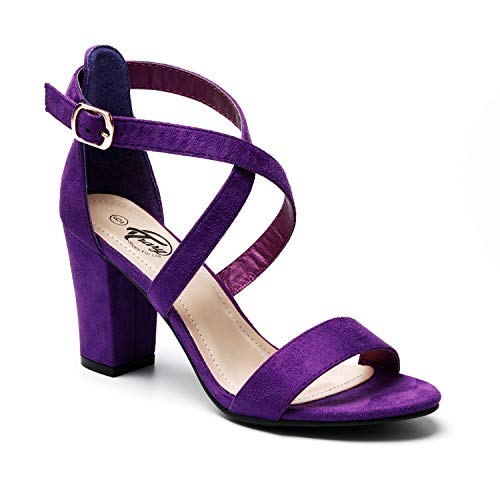 (Trary Women's Ankle Strap and Adjustable Buckle Chunky Pump Heel Sandals Purple Suede 07)