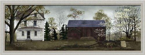 Primitive Folk Art Painting (Spring Flowers for Sale by Billy Jacobs Primitive Folk Art Farm 32x12 in Framed Art Print Picture)