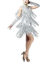 V Neck 1920s Sequin Fringe Charleston Flapper Dance...