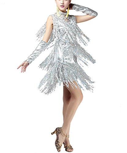 Mini 1920's Fringe Gatsby Flapper Style Latin Dance Competition Dresses Costumes, Laser Sliver, 4/6