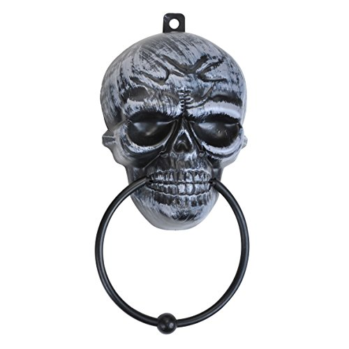 "Real Working Skull Skeleton With Metal Knocker 11"" x 5"" Hanging Decoration, Black"