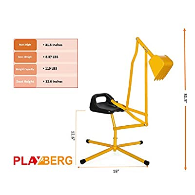 PLAYBERG Metal Sand Digger Toy Crane for Sandbox: Toys & Games