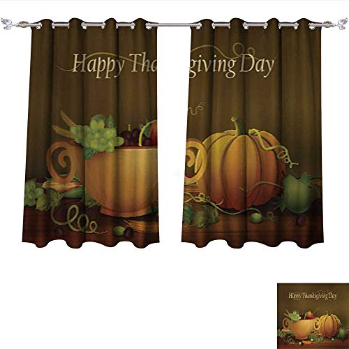 Kichler Drapes (Linen Blackout Curtains Happy Thanksgiving Wallpaper background3 Insulated Room Darkening Curtains W63 x L45/Pair)