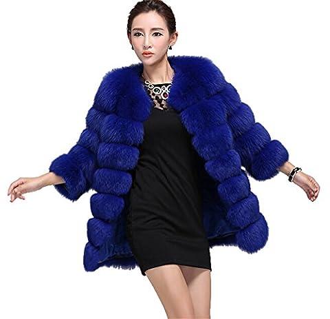 Top Fur Women's Genunine Fox Fur Whole Skins Eye-catching Coat- Royalblue, US 14