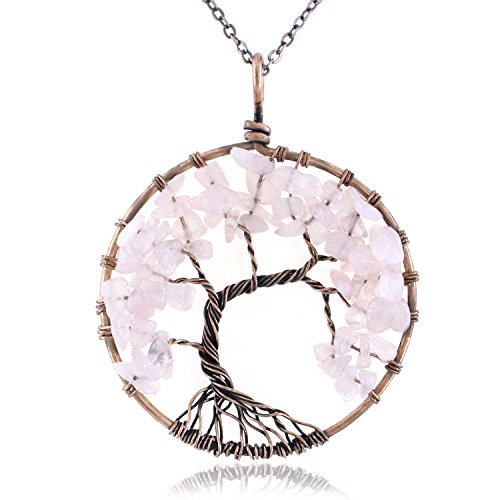 KISSPAT Tree of Life Pendant Necklace Handmade Gemstone with 26