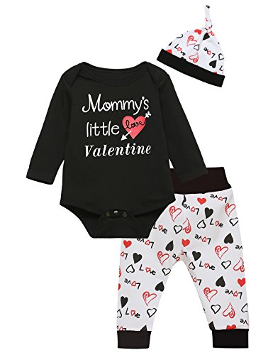 Newborn Baby Boys' Mommys' Little Valentine Outfit Clothes Cute Layette Sets (0-3 Months)