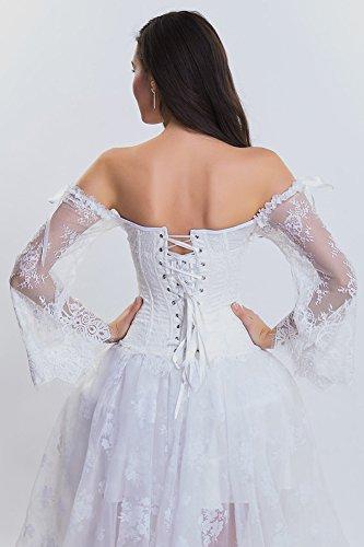della in Overbust delle spalla donne posteriore manicotto szivyshi con il il merletta Bianca su corsetto 7I11d