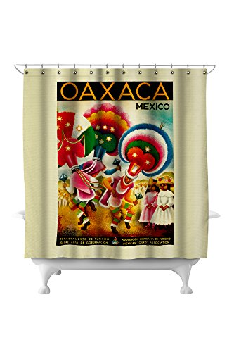 Oaxaca Vintage Poster (artist: Miguel Covarrubias) Mexico c. 1941 (71x74 Polyester Shower Curtain)