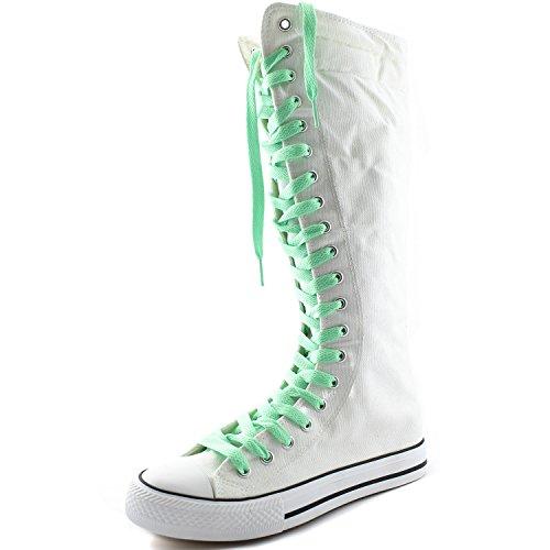 Dailyshoes Damesschoen Mid Kalf Lange Laarzen Casual Sneaker Punk Flat, Witte Laarzen, Perfect Groen Kant