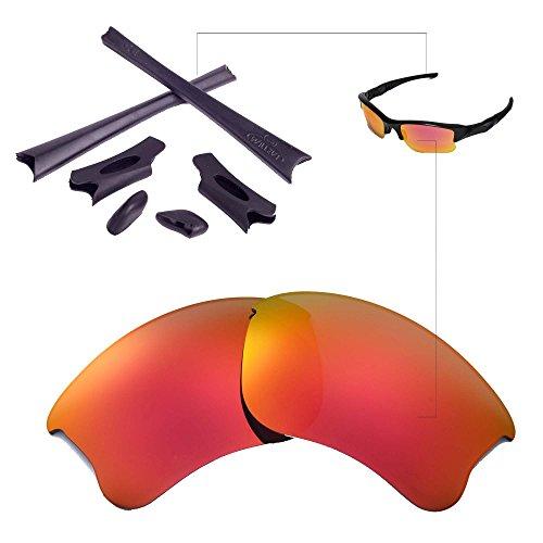 Walleva Replacement Lenses Or Lenses/Rubber Kit for Oakley Flak Jacket XLJ Sunglasses - 26 Options (Fire Red Polarized Lenses + Black - Black Jacket Oakley Flak Red And