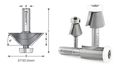 Amana Tool 49409 Carbide Tipped Lansen Stainless Steel Edge Sink 15 Deg Bevel x 7/8 D x 7/8 CH x 1/4 Inch SHK Router Bit by Amana Tool