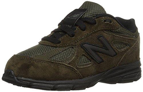 New Balance Boys' 990v4 Running Shoe, Olive/Black, 6.5 M US Toddler