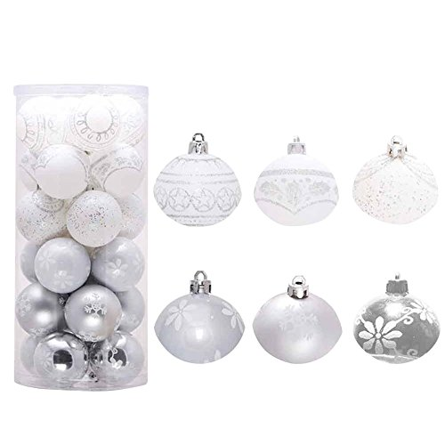 ents, Forthery Shatterproof Tree Balls for Holiday Wedding Party Decoration (24PCS, Silver) ()