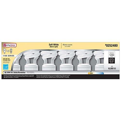 Utilitech 6-Pack 75W Equivalent Soft White CFL Light Fixture Light Bulbs - - Amazon.com