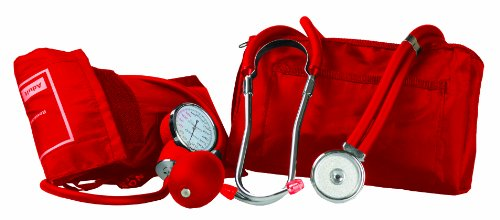 Primacare DS-9181-RD Professional Blood Pressure Kit, Includes an Aneroid Sphygmomanometer and Sprague Rappaport Stethoscope, (Red Stethoscope)