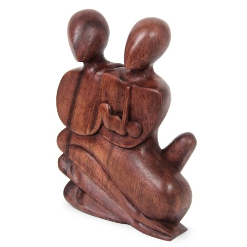 NOVICA Hand-Carved Dark Brown Suar Wood Human Figure Family Sculpture, 7.75