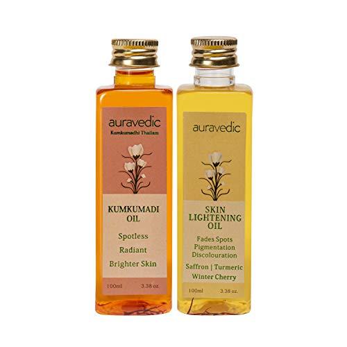 AURAVEDIC Skin Lightening Oil, 100ml and Kumkumadi Oil, 100ml