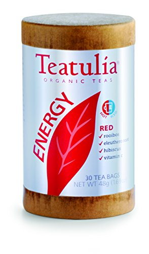 Teatulia Organic Energy Red Tea 6 Canisters x 30 Standard Tea Bags - 180 Tea Bags Total - Brew Hot or Cold