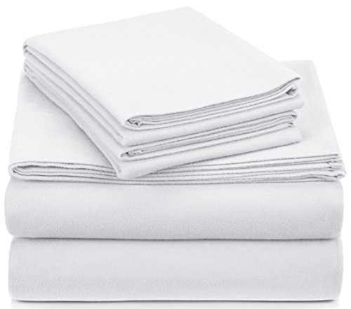Pinzon Signature 190-Gram Cotton Heavyweight Velvet Flannel Sheet Set - Queen, White