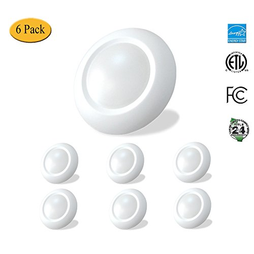 4 inch Slim Surface Mount Round LED Disk Light, 10W, 600Lumens, CCT 3000K, CRI>80, Dimmable, DOB Design, cETL Listed and Energy Star, Wish Lighting, 6 Pack by Wish Lighting