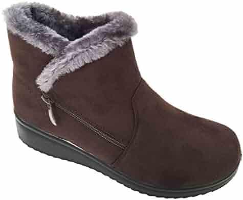 5739723b6 G4UMM Women s Winter Boots Faux Suede Fashion Zipper Warm Fur Lined Ankle  Shoes