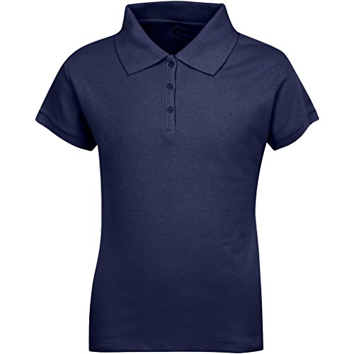 Premium Short Sleeves Girls Polo Shirts Navy S 7/8 by Premium