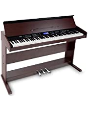 FunKey DP-88 II Digitalpiano (88 anschlagsdynamische Keyboard-Tasten, 128-fach polyphon, 360 Sounds, 160 Styles, MP3-Player, Lernfunktion, Record- & Playback-Funktion, 3 Pedale) braun
