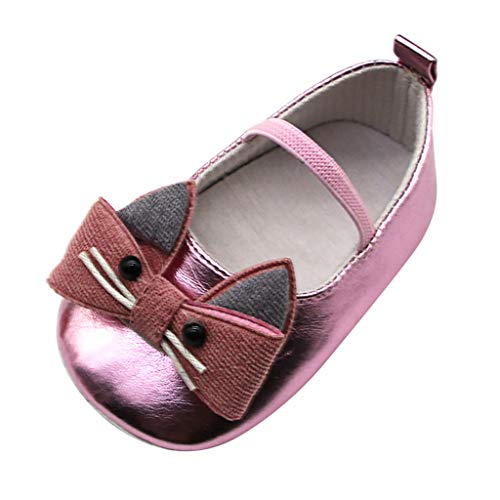 Lefthigh Baby Girl Cat Shoes Toddler Buckle Shoes, Kitten Bow Leather Shoes Soft Sole Single Shoes