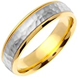 14K Two Tone (White and Yellow) Gold Center Stripe Men's Wedding Band (6mm)