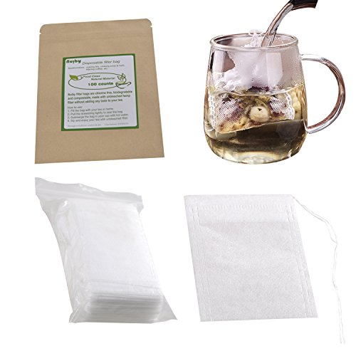 Tea Filter Bags, Unbleached 100% Natural Drawstring Empty tea bags for Loose, Herbal, Green & Weight Loss Tea - NUIBY Disposable Tea Infuser Bags - 1cup capacity, 100 counts (2.4in (Mesh Tea Bag)